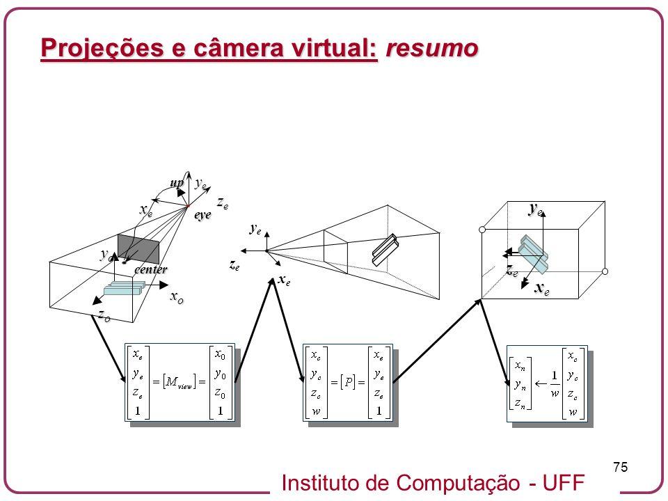 Projeções e câmera virtual: resumo