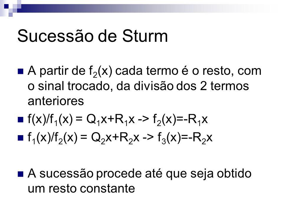 Sucessão de Sturm A partir de f2(x) cada termo é o resto, com o sinal trocado, da divisão dos 2 termos anteriores.