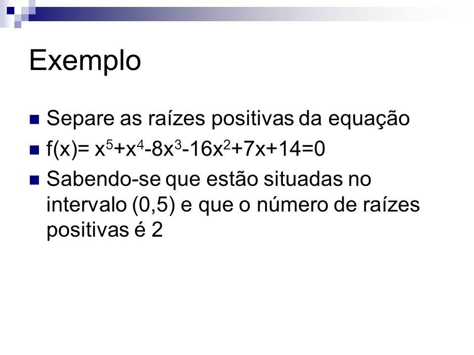 Exemplo Separe as raízes positivas da equação