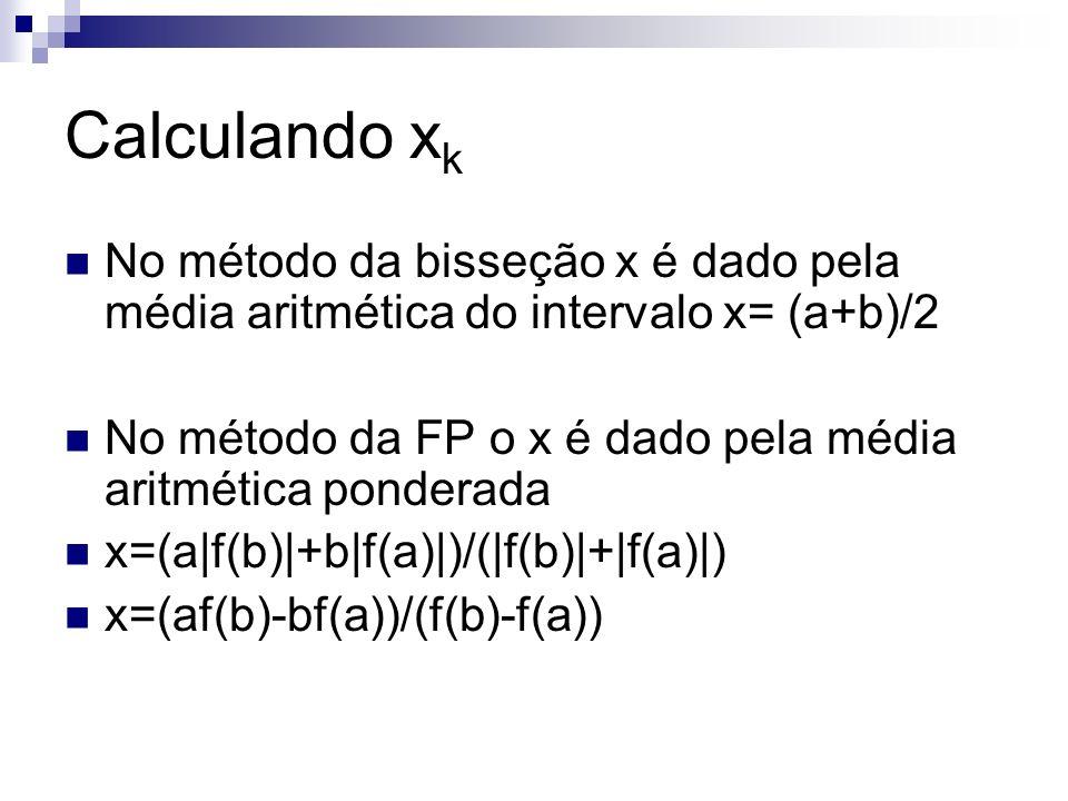 Calculando xk No método da bisseção x é dado pela média aritmética do intervalo x= (a+b)/2.