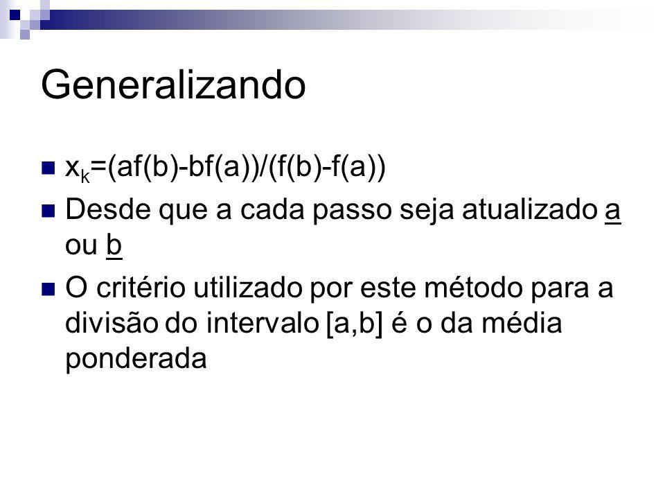 Generalizando xk=(af(b)-bf(a))/(f(b)-f(a))