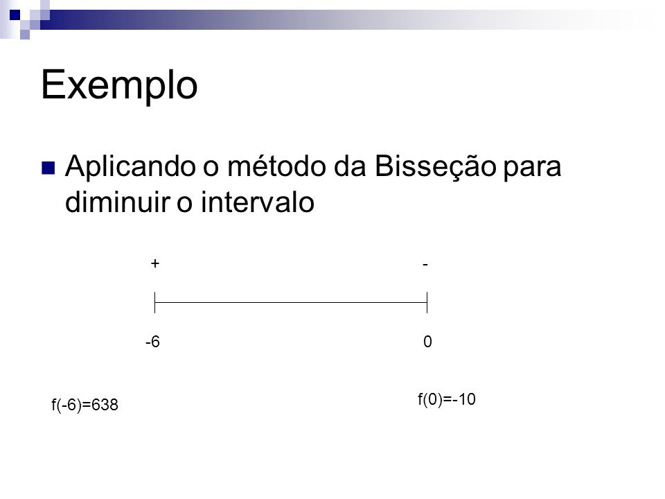 Exemplo Aplicando o método da Bisseção para diminuir o intervalo + -
