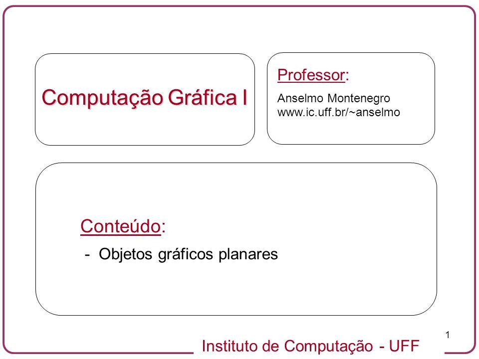 Computação Gráfica I Conteúdo: Professor: - Objetos gráficos planares