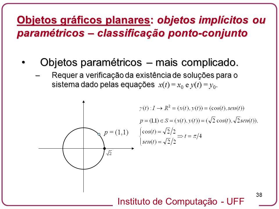 Objetos paramétricos – mais complicado.