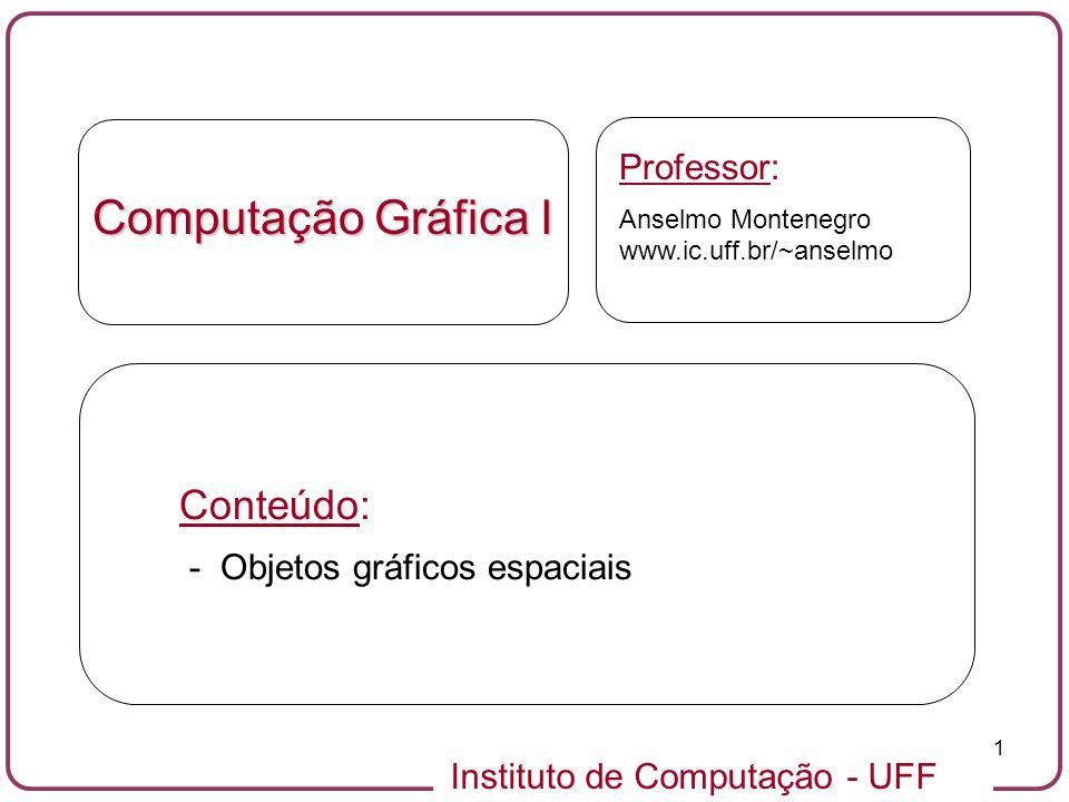 Computação Gráfica I Conteúdo: Professor: - Objetos gráficos espaciais