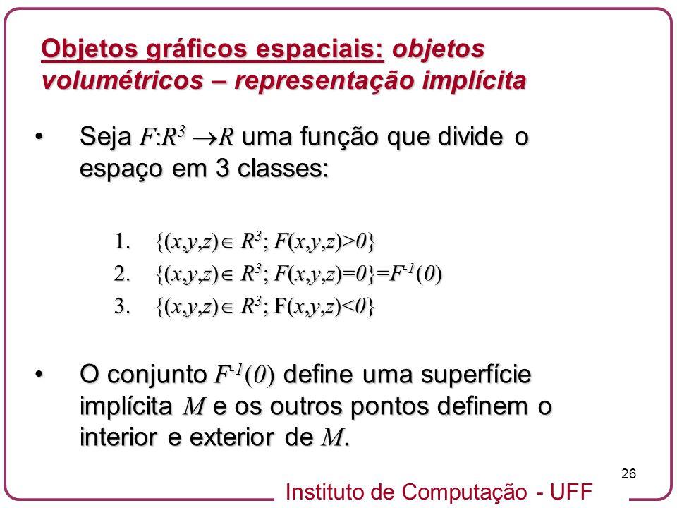 Seja F:R3 R uma função que divide o espaço em 3 classes: