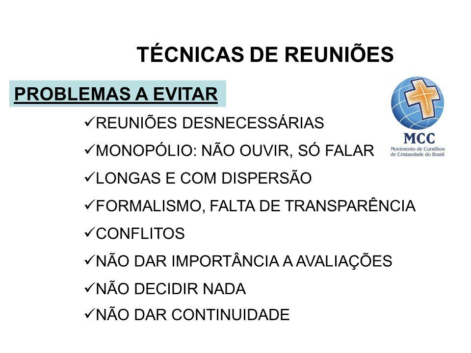 TÉCNICAS DE REUNIÕES PROBLEMAS A EVITAR REUNIÕES DESNECESSÁRIAS
