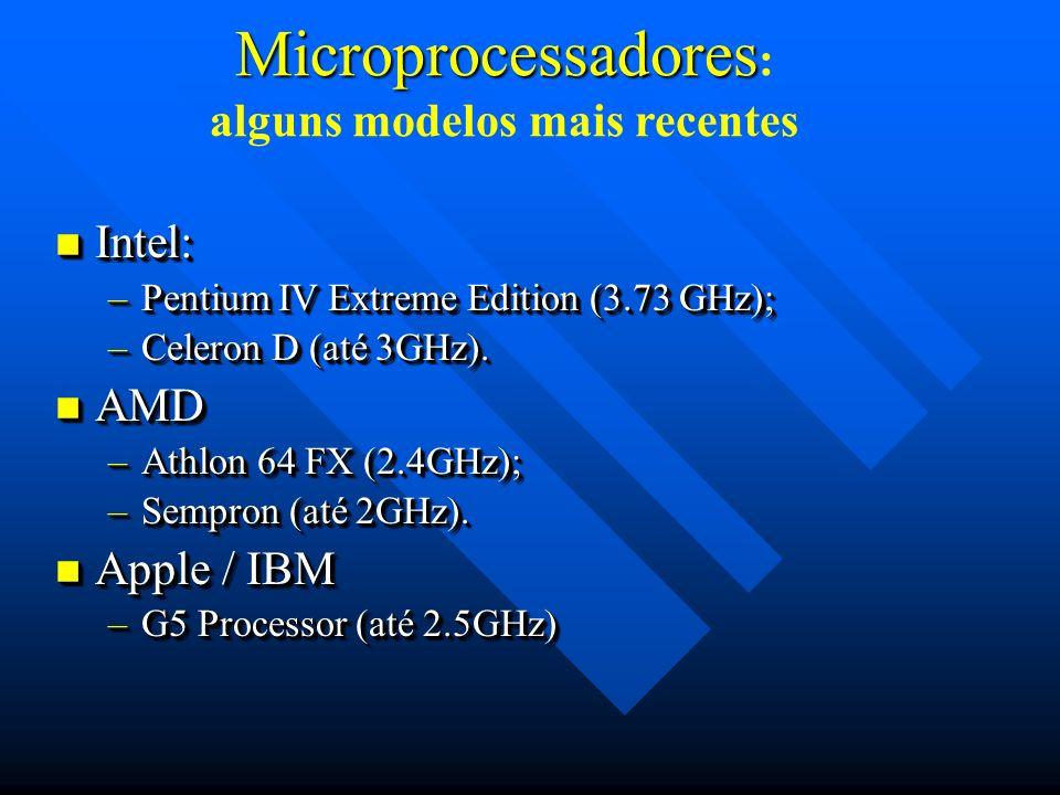 Microprocessadores: alguns modelos mais recentes