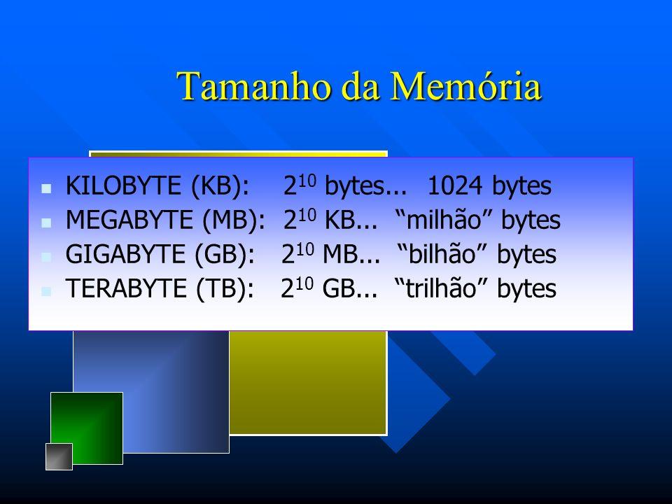 Tamanho da Memória KILOBYTE (KB): 210 bytes... 1024 bytes