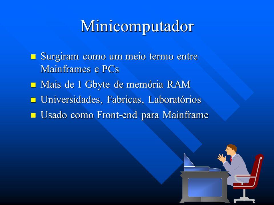 Minicomputador Surgiram como um meio termo entre Mainframes e PCs