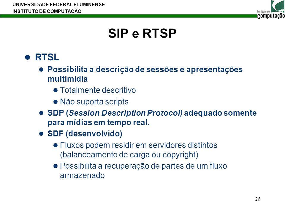 SIP e RTSP RTSL. Possibilita a descrição de sessões e apresentações multimídia. Totalmente descritivo.