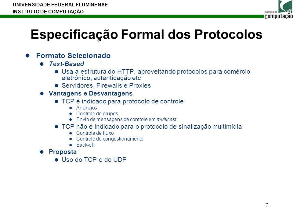 Especificação Formal dos Protocolos