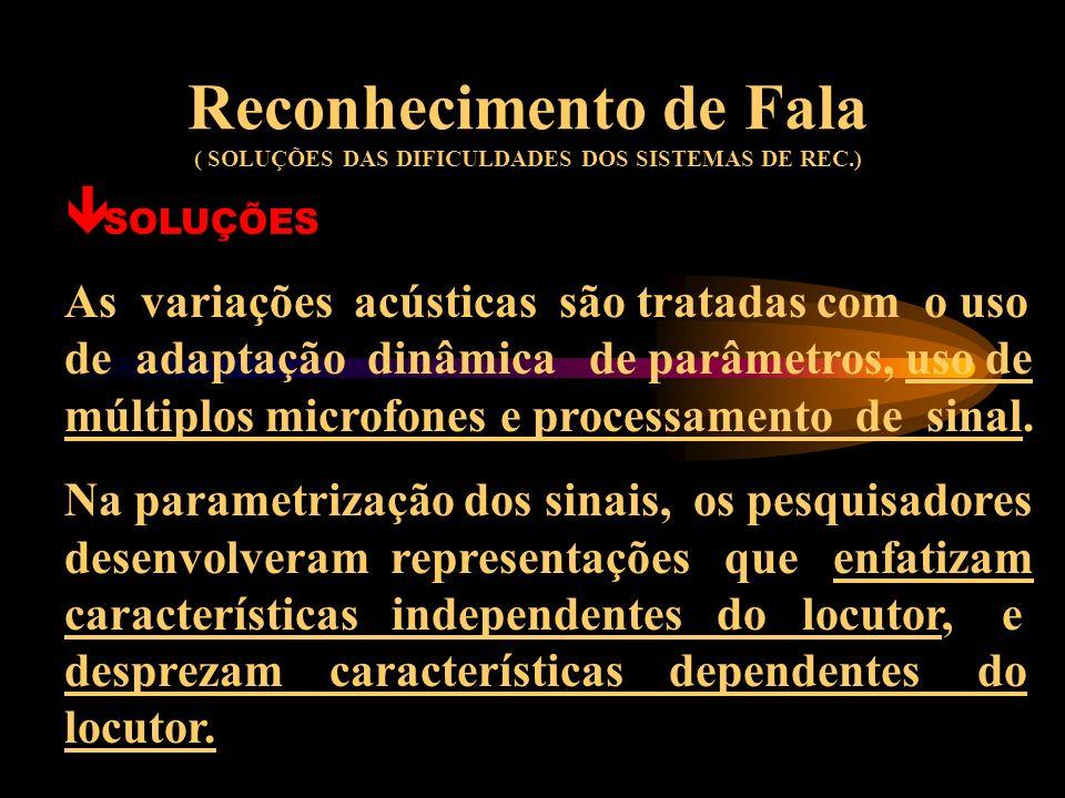 Reconhecimento de Fala ( SOLUÇÕES DAS DIFICULDADES DOS SISTEMAS DE REC