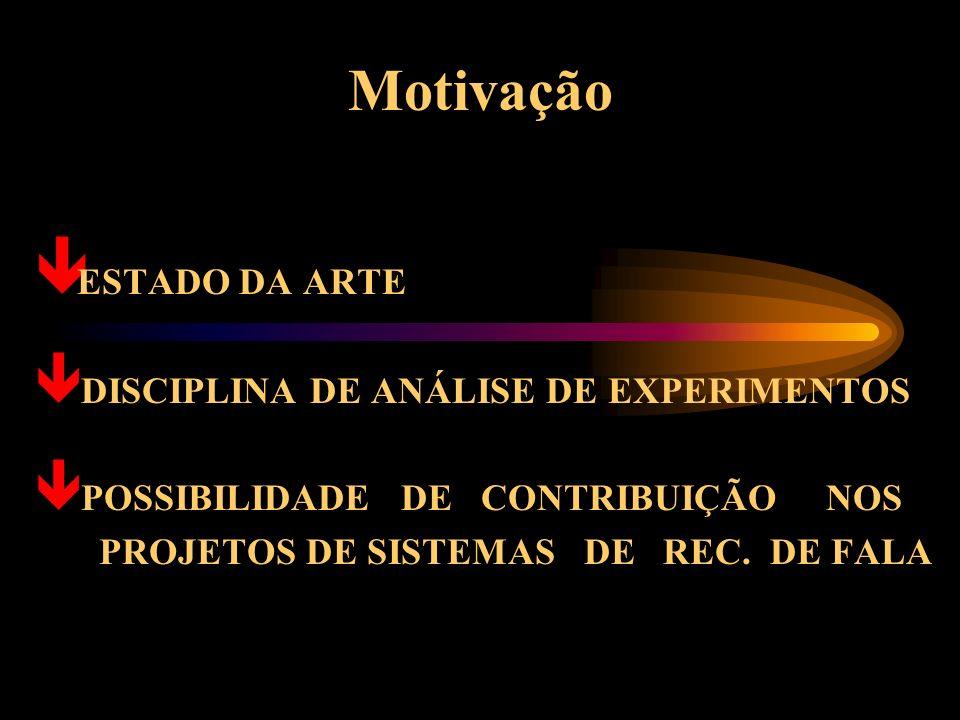 Motivação ESTADO DA ARTE DISCIPLINA DE ANÁLISE DE EXPERIMENTOS