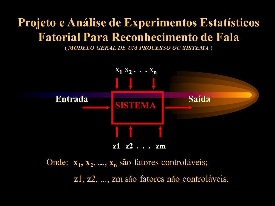 Projeto e Análise de Experimentos Estatísticos Fatorial Para Reconhecimento de Fala ( MODELO GERAL DE UM PROCESSO OU SISTEMA )