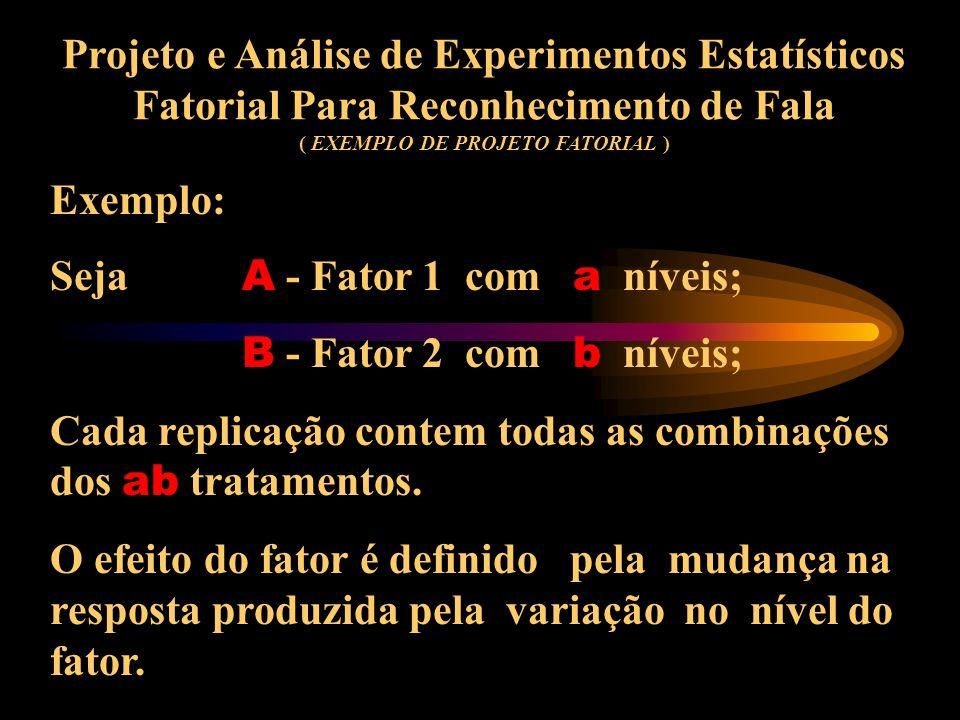 Projeto e Análise de Experimentos Estatísticos Fatorial Para Reconhecimento de Fala ( EXEMPLO DE PROJETO FATORIAL )