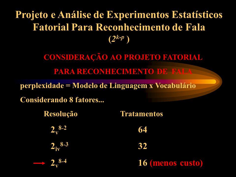 CONSIDERAÇÃO AO PROJETO FATORIAL PARA RECONHECIMENTO DE FALA