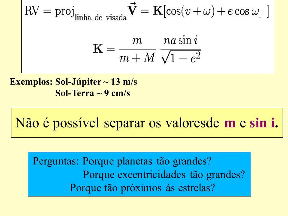 Não é possível separar os valoresde m e sin i.