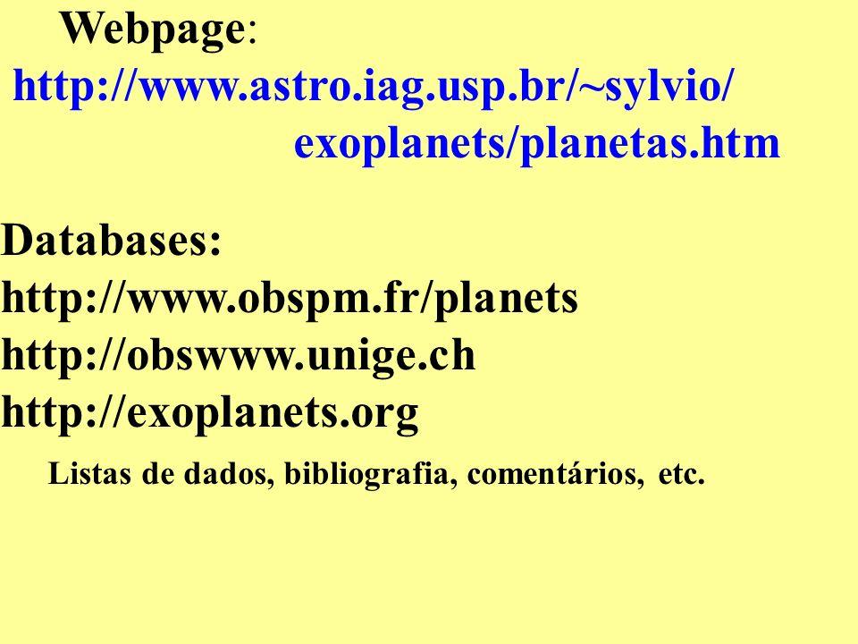 Listas de dados, bibliografia, comentários, etc.