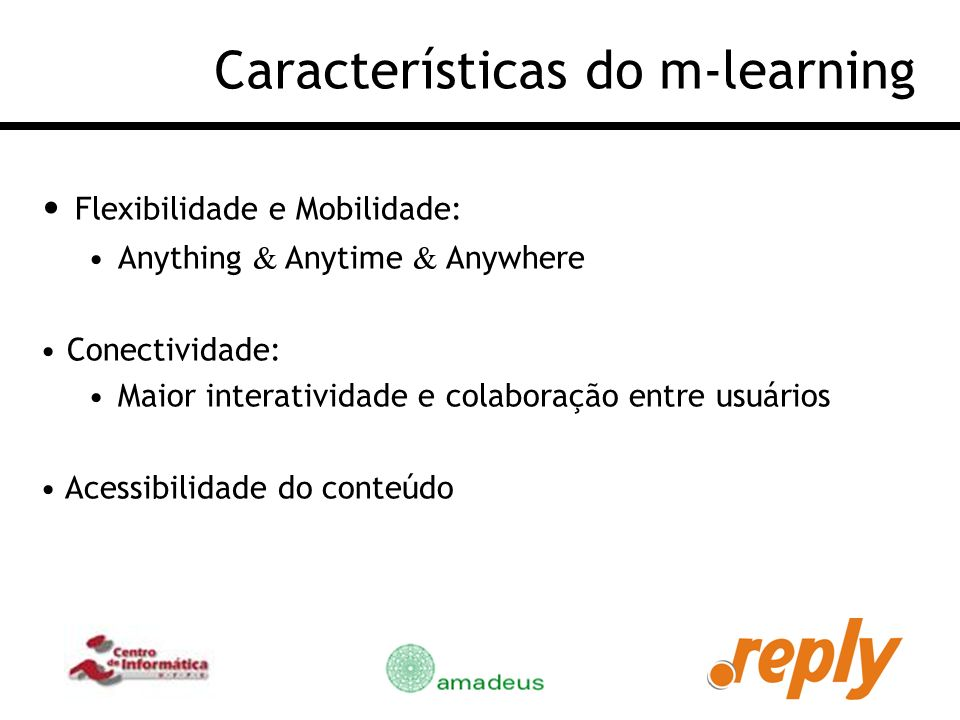 Características do m-learning