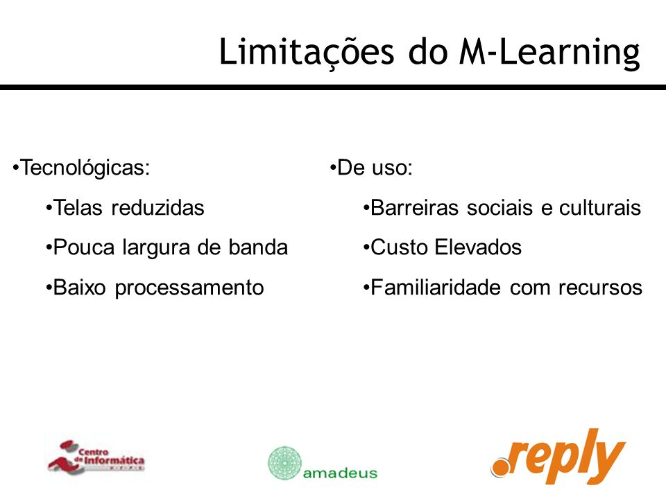 Limitações do M-Learning