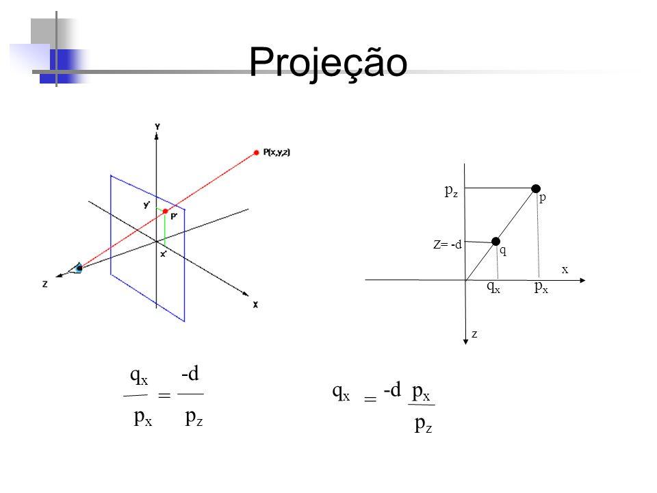 Projeção pz p Z= -d q x qx px z qx -d qx -d px = = px pz pz 67