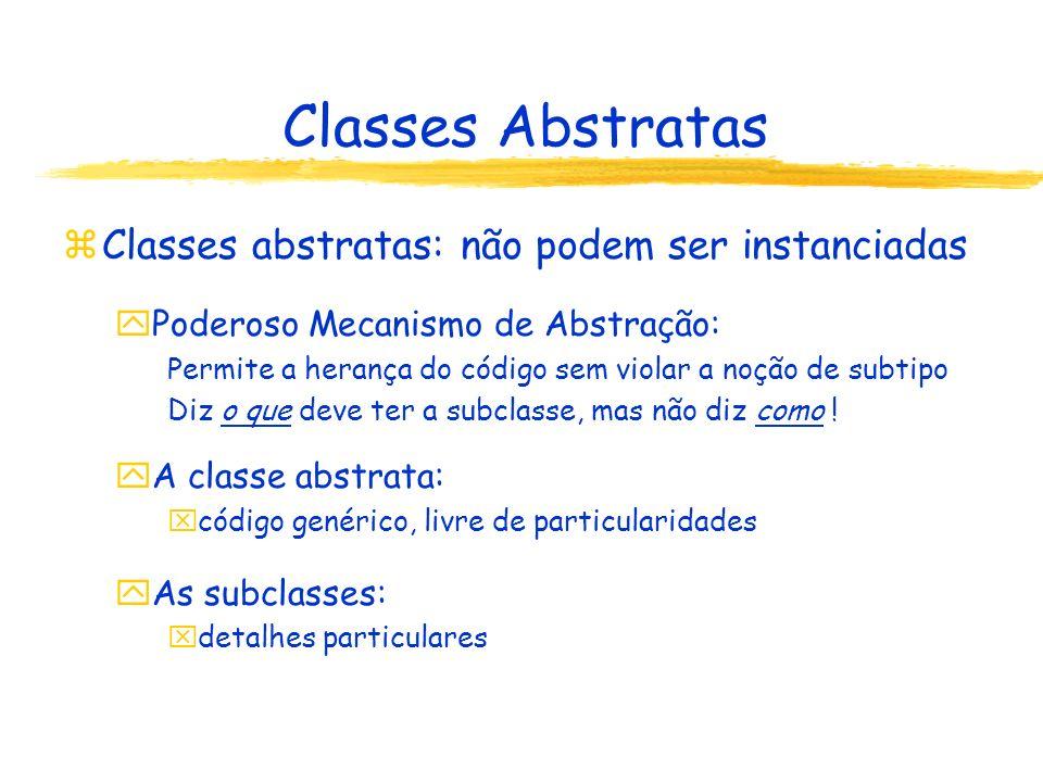 Classes Abstratas Classes abstratas: não podem ser instanciadas