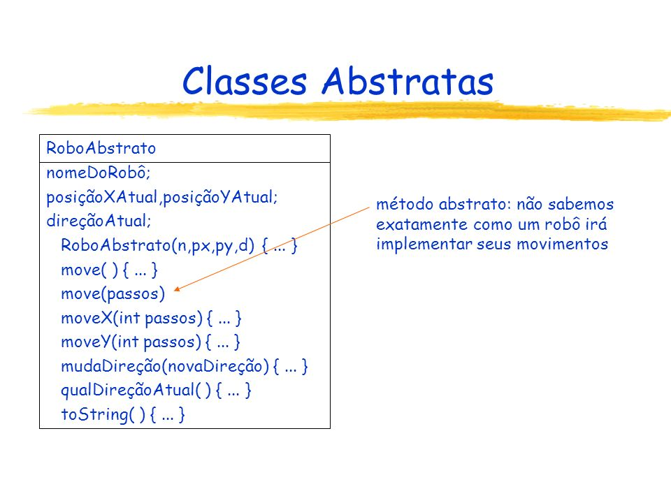 Classes Abstratas RoboAbstrato nomeDoRobô;