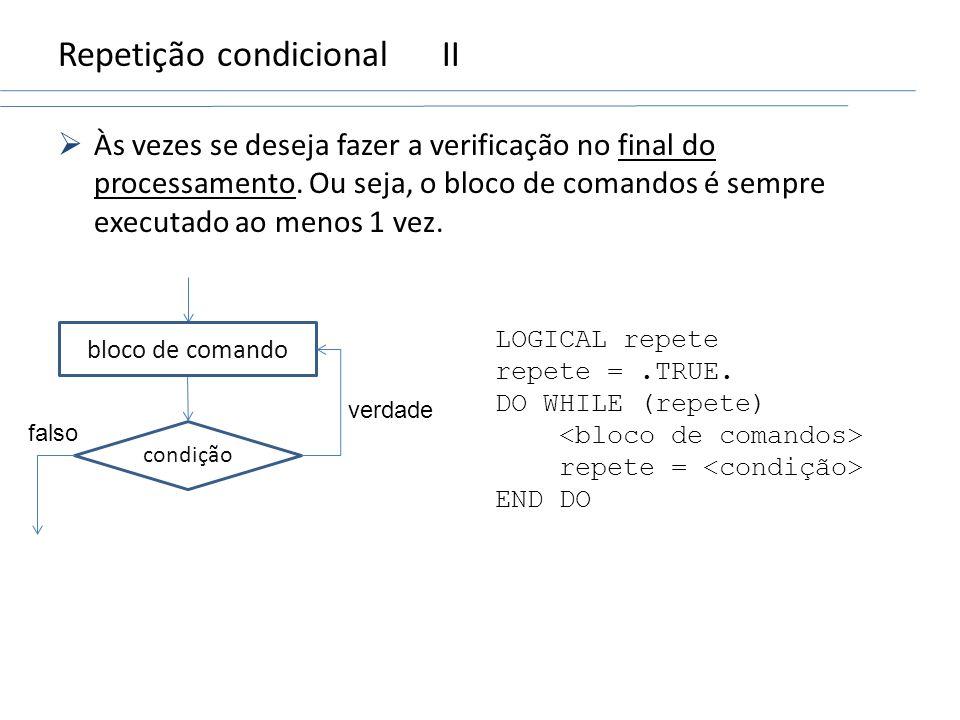 Repetição condicional II