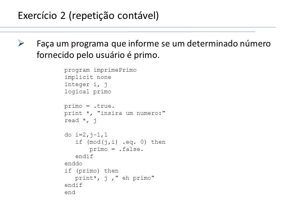 Exercício 2 (repetição contável)