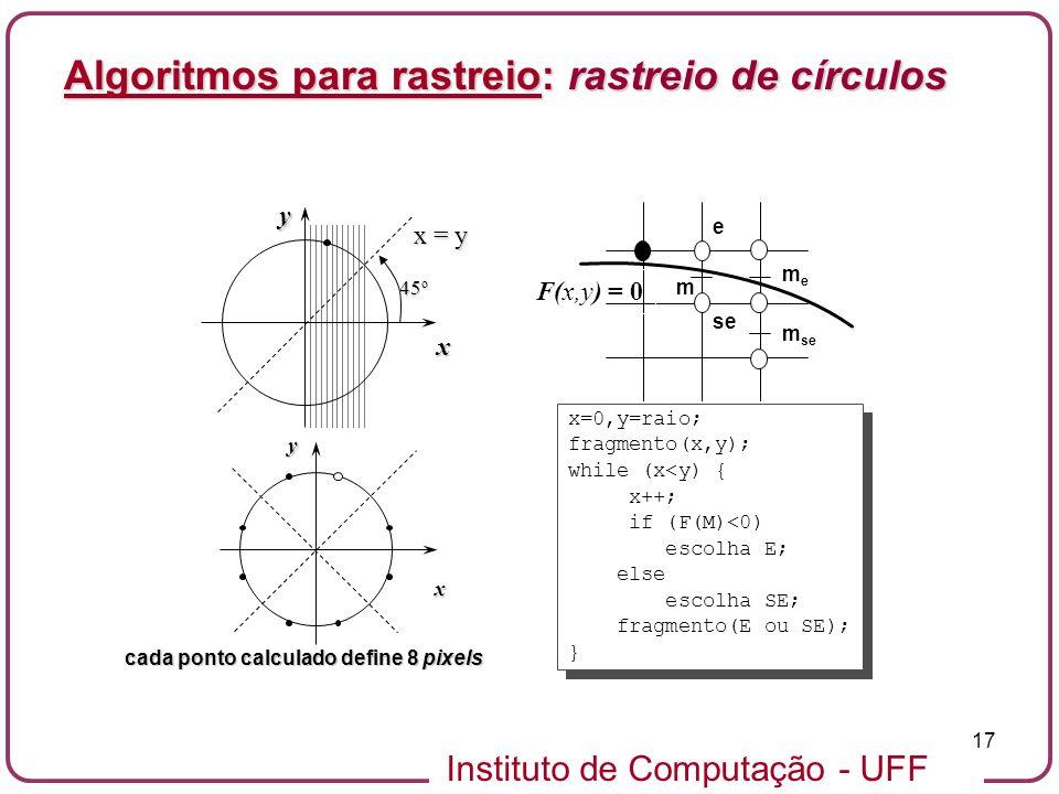 Algoritmos para rastreio: rastreio de círculos