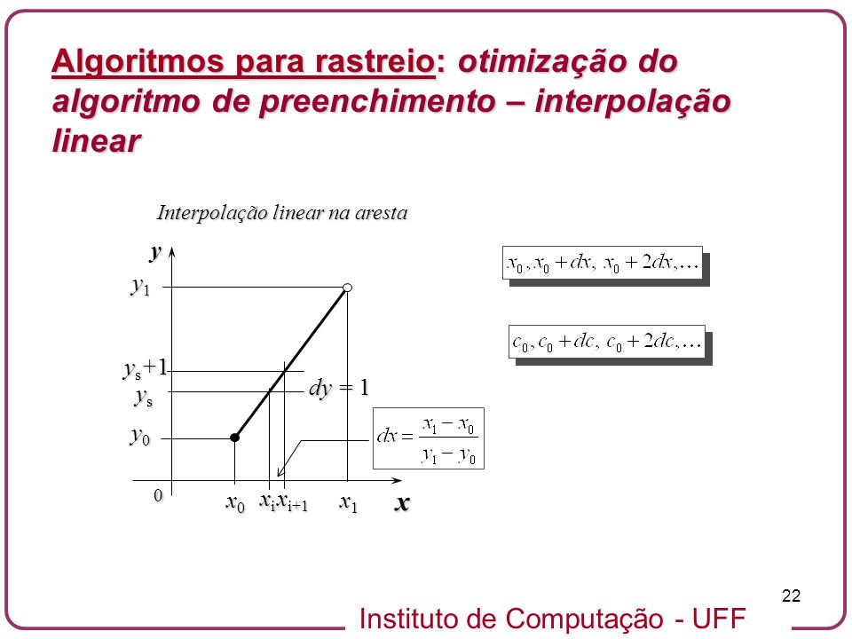 Algoritmos para rastreio: otimização do algoritmo de preenchimento – interpolação linear