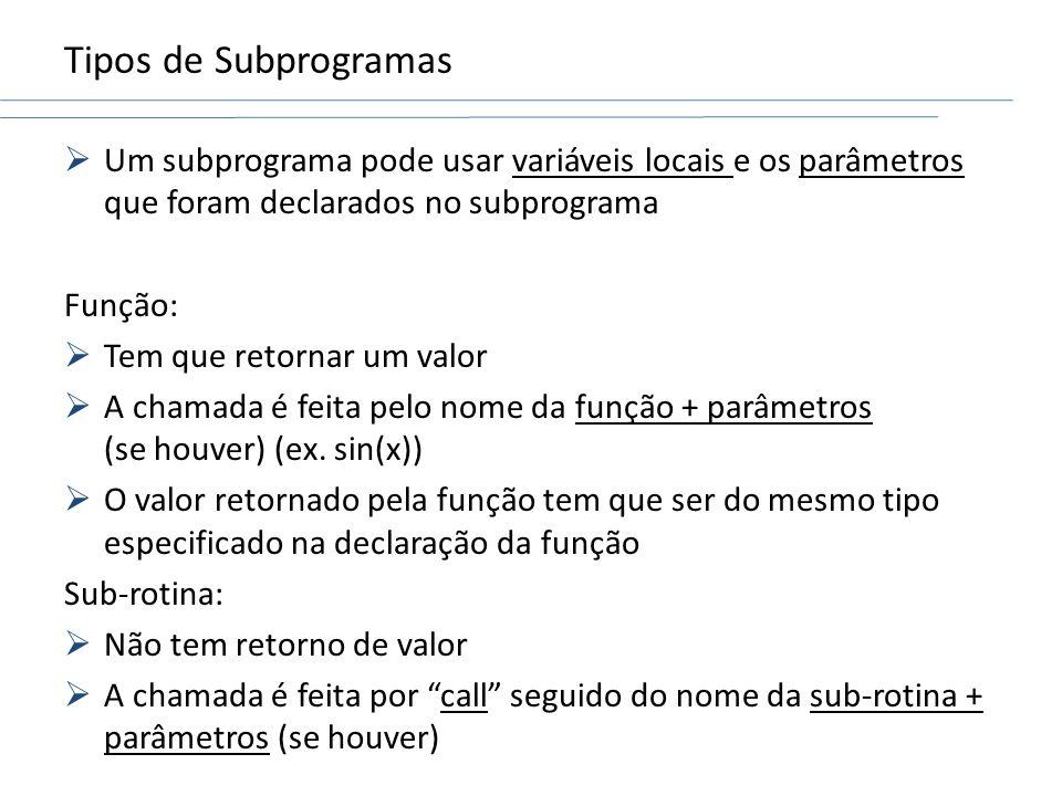 Tipos de SubprogramasUm subprograma pode usar variáveis locais e os parâmetros que foram declarados no subprograma.
