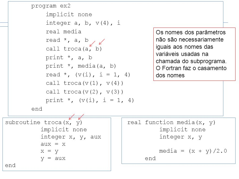 program ex2 implicit none integer a, b, v(4), i real media read