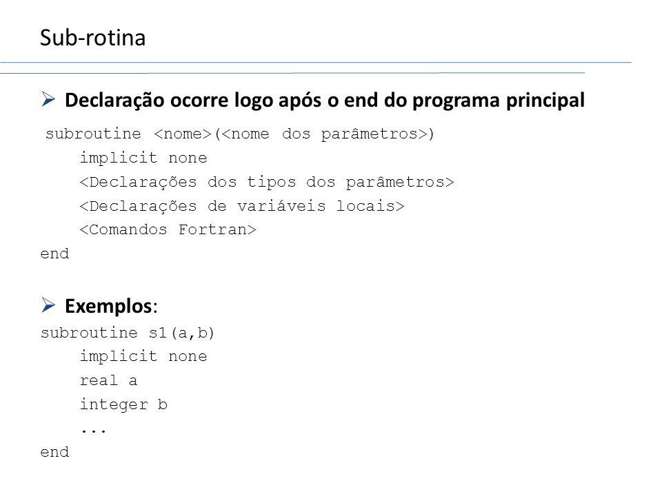 Sub-rotina Declaração ocorre logo após o end do programa principal