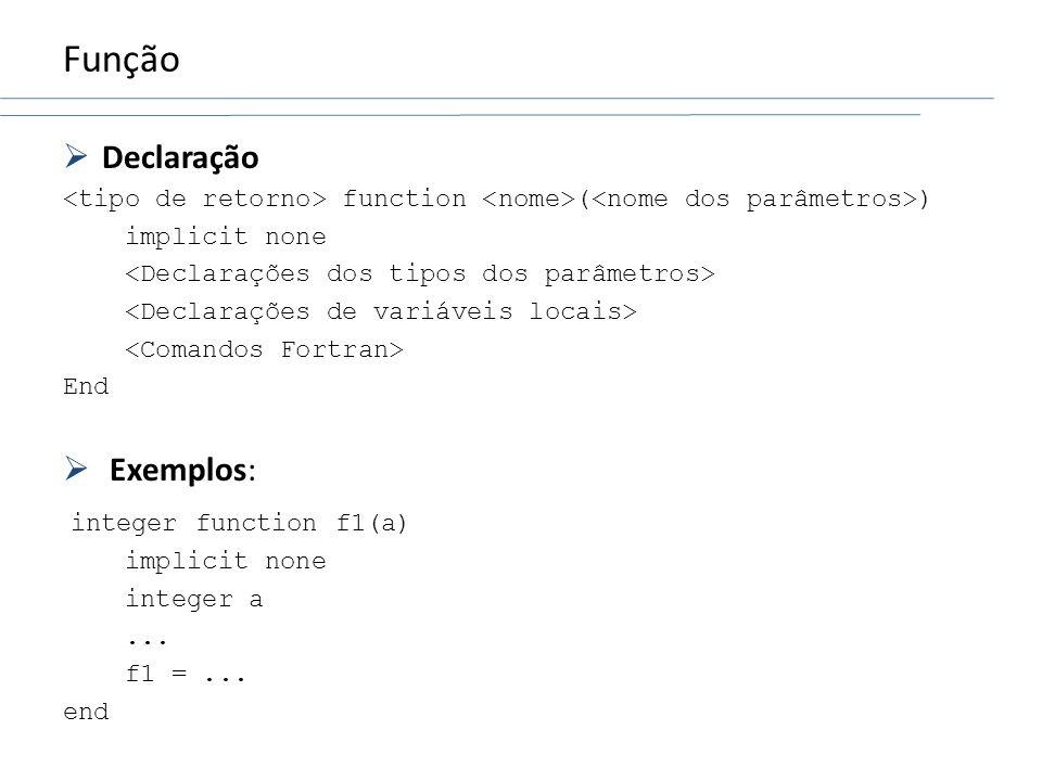 Função Declaração Exemplos: integer function f1(a)