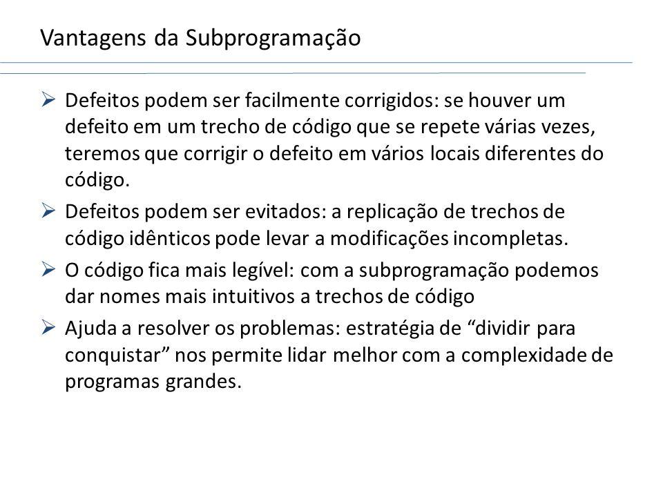 Vantagens da Subprogramação