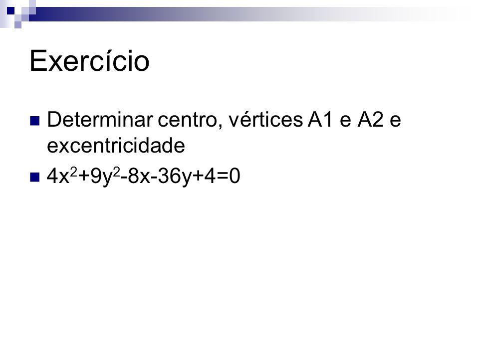 Exercício Determinar centro, vértices A1 e A2 e excentricidade