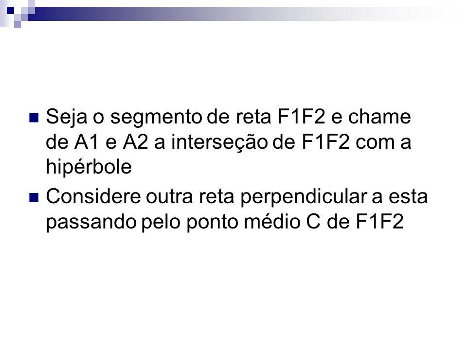 Seja o segmento de reta F1F2 e chame de A1 e A2 a interseção de F1F2 com a hipérbole