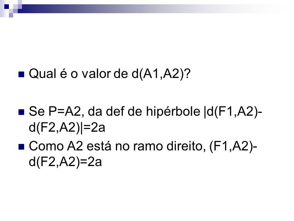 Qual é o valor de d(A1,A2). Se P=A2, da def de hipérbole |d(F1,A2)-d(F2,A2)|=2a.