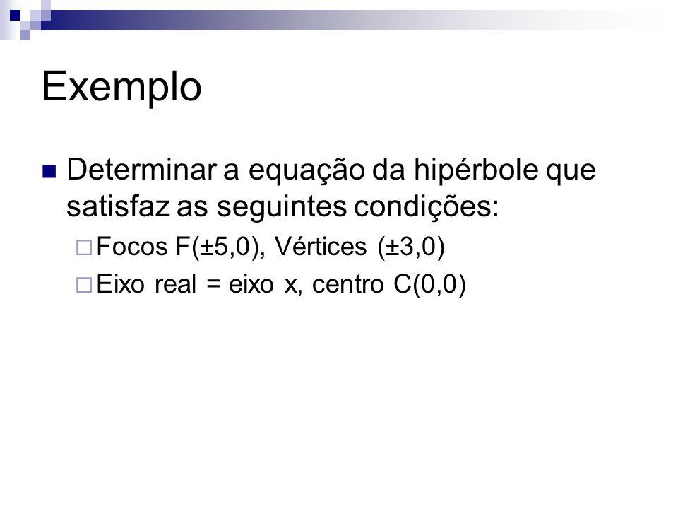 ExemploDeterminar a equação da hipérbole que satisfaz as seguintes condições: Focos F(±5,0), Vértices (±3,0)