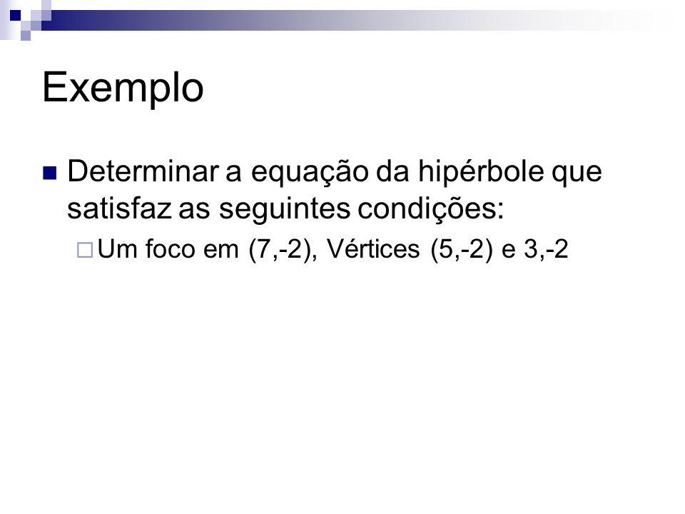 ExemploDeterminar a equação da hipérbole que satisfaz as seguintes condições: Um foco em (7,-2), Vértices (5,-2) e 3,-2.