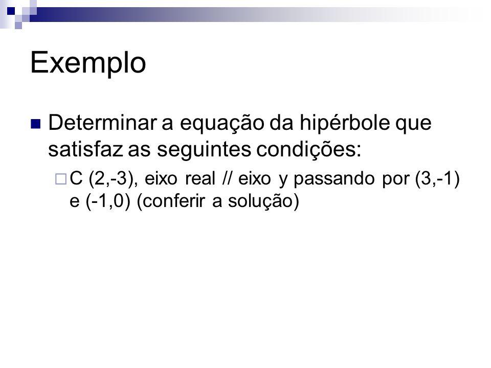 ExemploDeterminar a equação da hipérbole que satisfaz as seguintes condições: