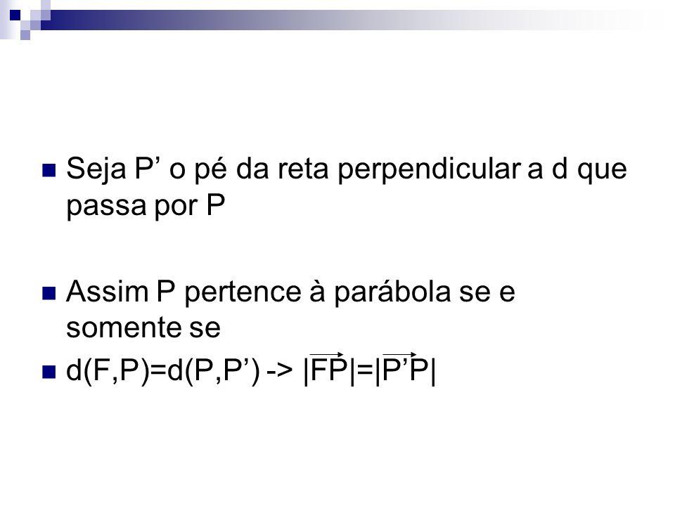 Seja P' o pé da reta perpendicular a d que passa por P