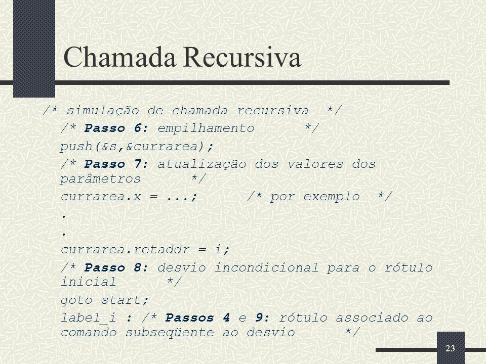 Chamada Recursiva /* simulação de chamada recursiva */