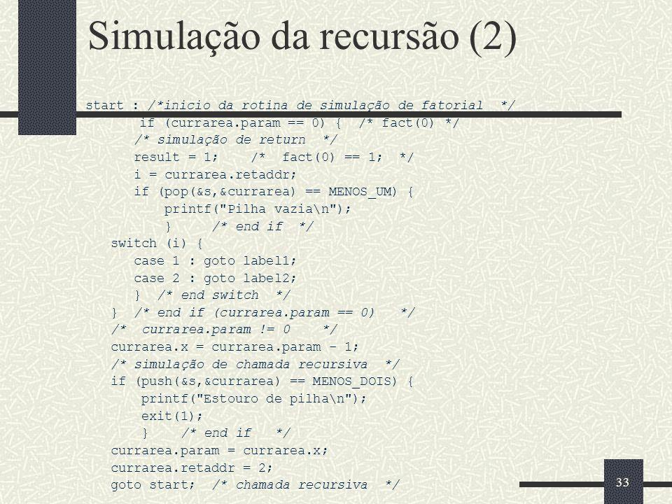 Simulação da recursão (2)