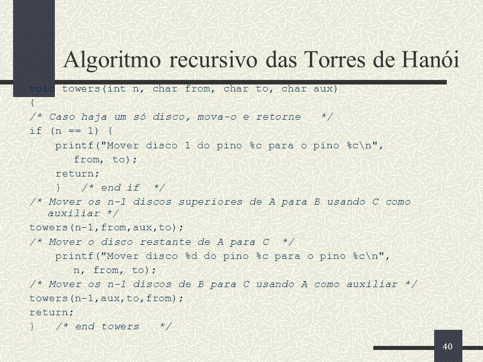 Algoritmo recursivo das Torres de Hanói