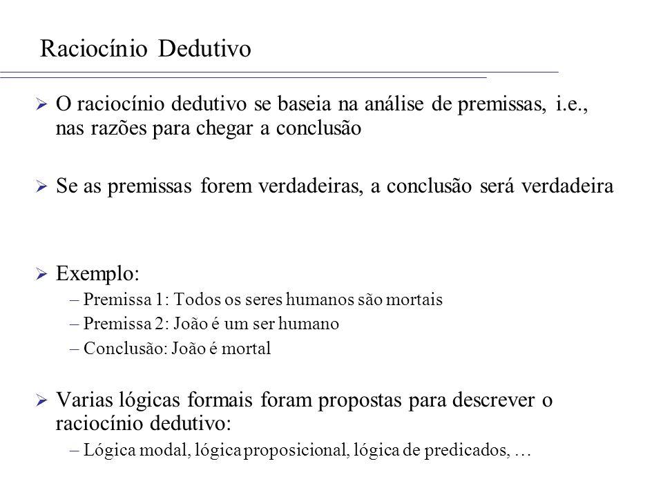 Raciocínio Dedutivo O raciocínio dedutivo se baseia na análise de premissas, i.e., nas razões para chegar a conclusão.