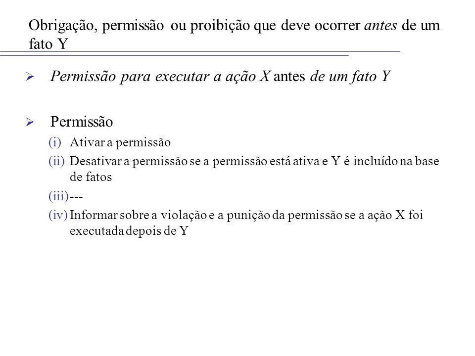 Obrigação, permissão ou proibição que deve ocorrer antes de um fato Y