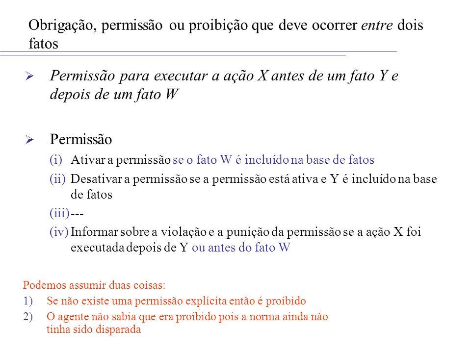 Obrigação, permissão ou proibição que deve ocorrer entre dois fatos